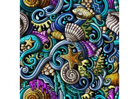 海洋生物涂鸦图案