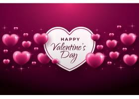 紫色闪耀爱心主题浪漫情人节装饰背景