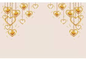 悬挂的爱心情人节标签主题浪漫情人节装饰背景