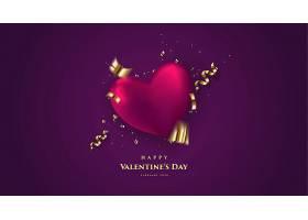 紫色大气情人节标签主题浪漫情人节装饰背景