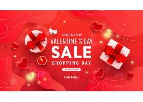 红色促销情人节标签主题浪漫情人节装饰背景