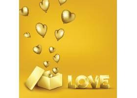 金色爱心气球情人节标签主题浪漫情人节装饰背景