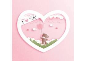 粉色爱心小熊情人节标签主题浪漫情人节装饰背景