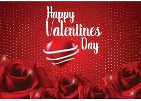 红色玫瑰情人节标签主题浪漫情人节装饰背景