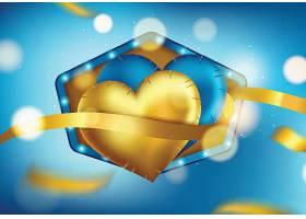 爱心气球情人节标签主题浪漫情人节装饰背景