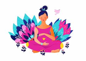 孕妇练习瑜伽主题装饰插画