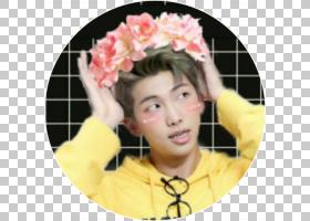 BTS RM,染发,微笑,插花,发饰,前额,花,黄色,头发,发现卡,服装辅料