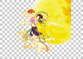 中秋节卡通,花瓣,花,黄色,七夕节,Chuseok,月兔,中国传统节日,月