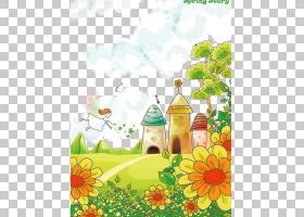 花卉背景,花卉设计,花,黄色,绘画,传粉者,树,向日葵,草甸,植物群,