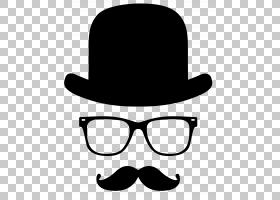 顶帽卡通,太阳镜,帽,软呢帽,线路,黑白,眼镜,圆顶礼帽,眼镜,服装