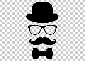 顶帽卡通,黑白,线路,徽标,牛仔帽,头盔,面部毛发,眼镜,软呢帽,剪