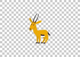 黄色背景,线路,喇叭,鹿,黄色,动物,卡通,羚羊,