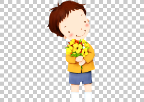 黄花,幸福,卡通,男性,微笑,花,植物,黄色,面部表情,蹒跚学步的孩