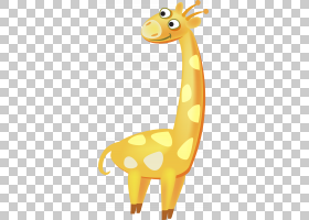 长颈鹿卡通,卡通,尾巴,动物形象,颈部,长颈鹿,长颈鹿,水彩画,黄色