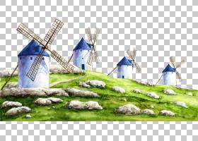 风卡通,风,草,能源,山水画,福井,乌尔布克斯,油画,刺绣,马赛克,画