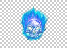 骷髅卡通,骨,电蓝,下颚,绿松石,骨架,光栅图形,颜色,燃烧,蓝色,火
