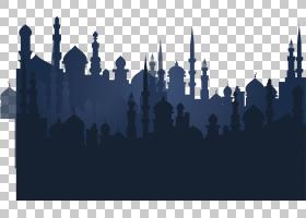 城市天际线剪影,天际线,城市,斋月,沙漠,神奇地毯,剪影,阿拉伯人,