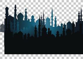 城市天际线剪影,天际线,城市,沙漠,斋月,神奇地毯,剪影,月光,景观
