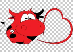 红花,花,微笑,鼻子,红色,性格,线路,卡通,牛,口吻,