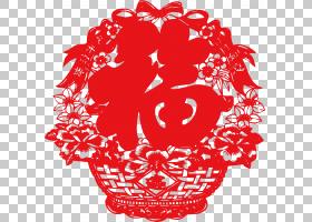 春节剪纸,视觉艺术,花卉设计,圆,线路,花瓣,花,红色,农历新年,元