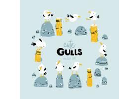可爱的卡通海鸥插画设计