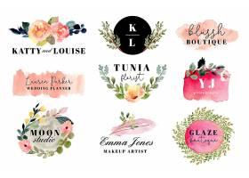 手绘创意植物花卉英文标签装饰元素