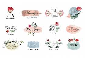 手绘创意植物花卉插画标签装饰元素