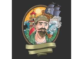 海盗主题时尚个性T恤印花图案设计