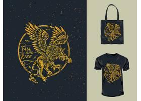 猎鹰主题时尚个性T恤印花图案设计