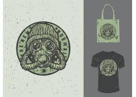 防毒面具主题时尚个性T恤印花图案设计