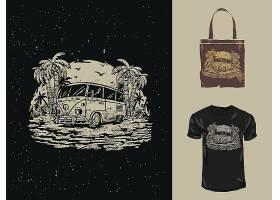 野外露营主题时尚个性T恤印花图案设计