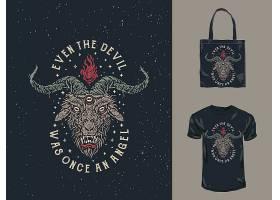 恶魔主题时尚个性T恤印花图案设计
