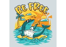 鲨鱼度假主题时尚个性T恤印花图案设计