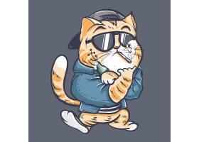 猫咪主题时尚个性T恤印花图案设计