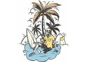度假骷髅主题时尚个性T恤印花图案设计