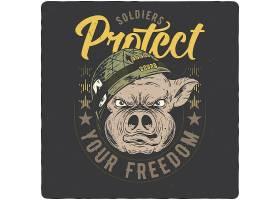 野猪游击兵主题时尚个性T恤印花图案设计
