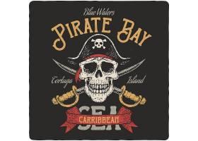 海盗标志主题时尚个性T恤印花图案设计