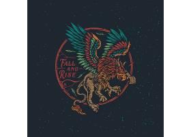 狮子猎鹰主题时尚个性T恤印花图案设计