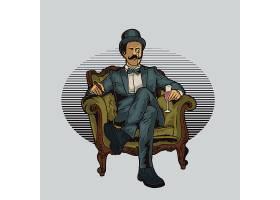 绅士侦探主题时尚个性T恤印花图案设计