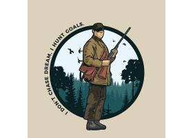 森林打猎主题时尚个性T恤印花图案设计