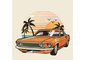 美式汽车海边度假主题时尚个性T恤印花图案设计