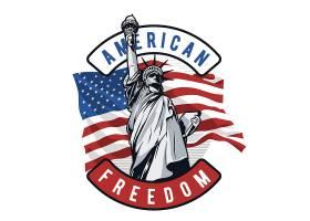 美国自由女神主题时尚个性T恤印花图案设计