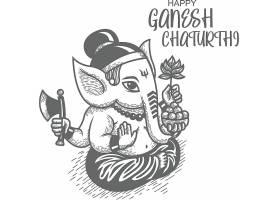 印度伽内什节象头神节主题节日插画