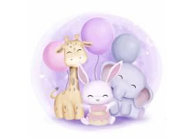 清新简洁卡通动物儿童水彩插画设计