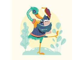 看书的鸵鸟卡通形象插画设计