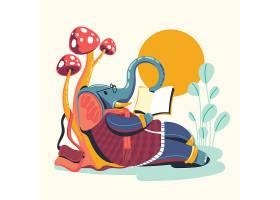 看书的大象卡通形象插画设计