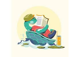 看书的海龟卡通形象插画设计