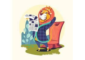 读书的狮子王卡通形象插画设计