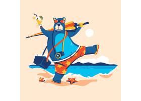 沙滩旅行的熊卡通形象插画设计