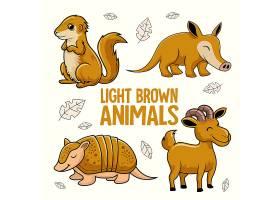 秋天落叶与动物卡通形象插画设计
